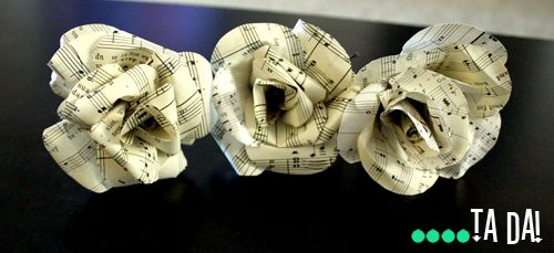 Paper flowers - love the idea of using sheet music: Paper Roses, Wedding Ideas, Music Crafts, Paper Flowers, Craft Ideas, Party Ideas, Crafty Ideas