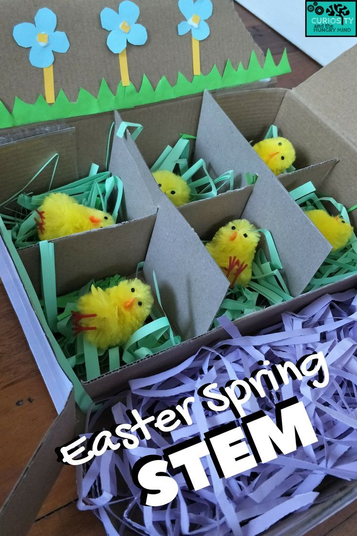 An Easter or Spring STEM challenge to create a home for these baby chicks. Apply your math knowledge as you calculate how much space each chick will require. Then design and construct their home. Don't forget the separate sleeping space!   #STEM #stemchallenge #easter #spring #craftforkids #math #easterSTEM #springSTEM