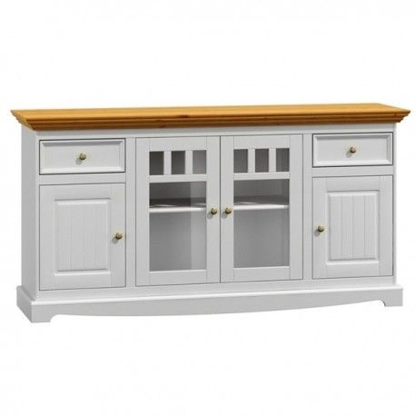 Dřevěná komoda Belluno Elegante, 4 dveřová, dekor bílá / dub, masiv, borovice