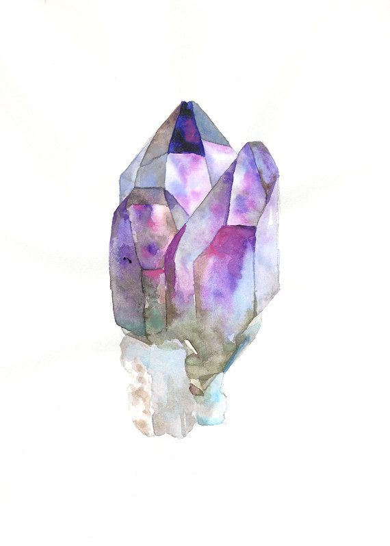 Quartz with Amethyst- Original Watercolor Painting