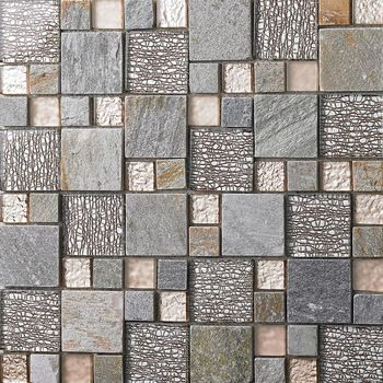 Stone Mixed Glass Mosaic 23x23mm 48x48mm Square Mosaic Tiles Bedroom Wall  Tiles Living Room Dining Room