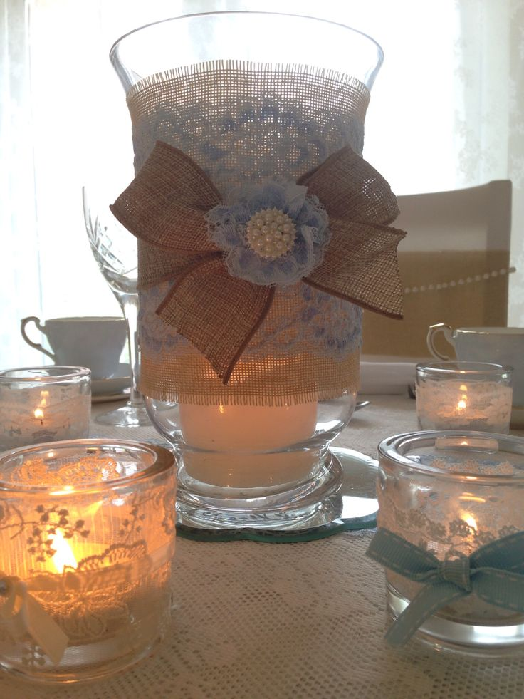 Burlap and lace lantern