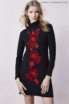 Черное платье French Connection с узором