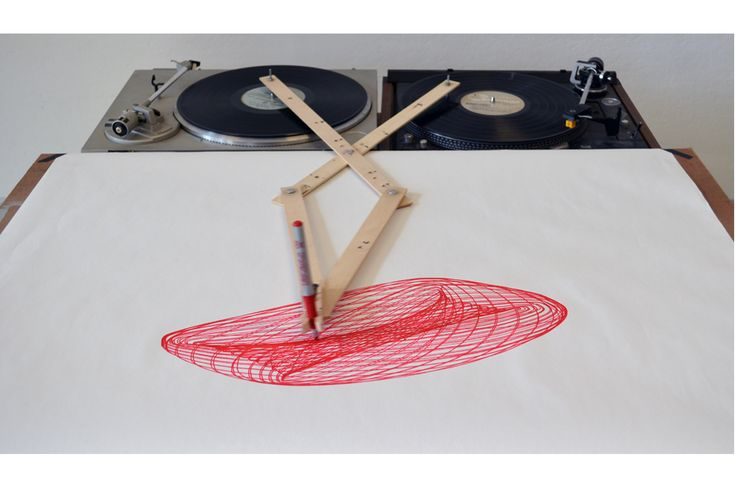 """Drawing Apparatus, 30"""" x 30""""  Turntables, Pine, Marker, Vinyl Record"""