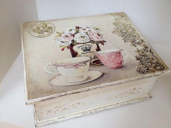 Caja de té  té crema vintage tiempo caja... Almacenamiento de