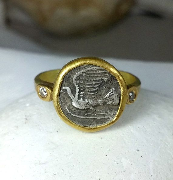 Gold Coin Ring, Statement Ring, Ancient Coin Jewelry, solid yellow gold ring,   Diamond Gemstone and coin ring