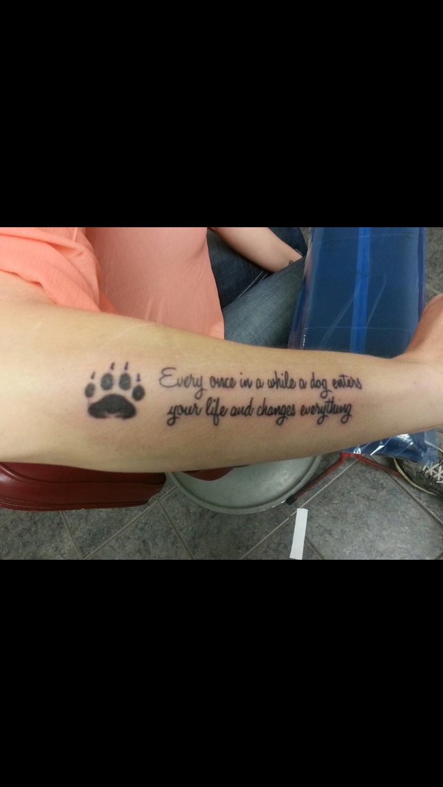 Dog paw quote tattoo