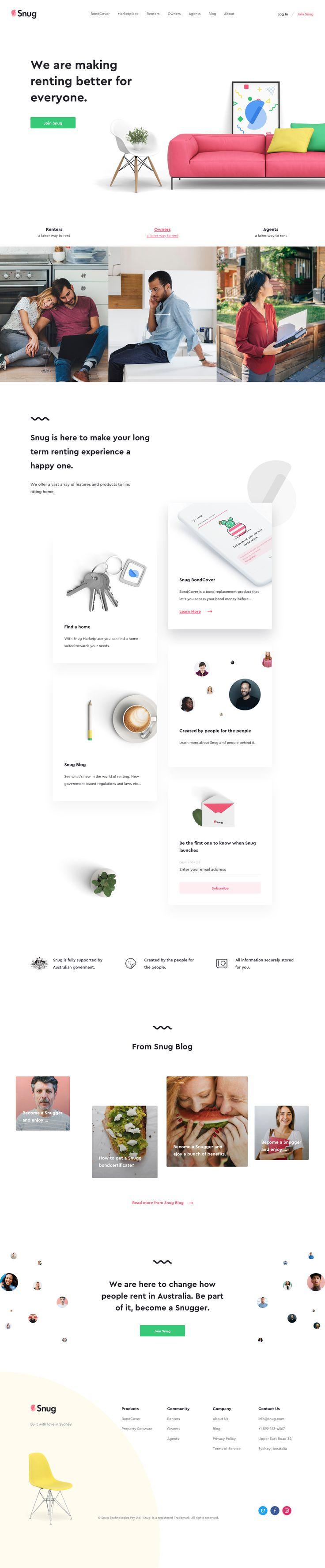 Renting, Landing page, scrolling website