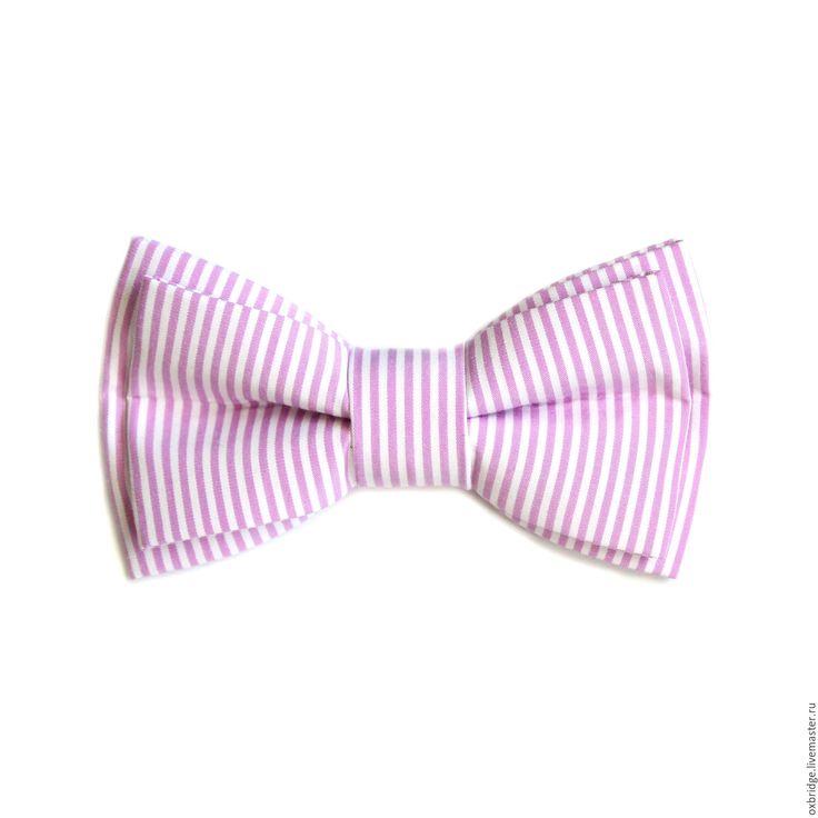 Купить Галстук-бабочка в розовую полоску из хлопка - галстук бабочка, галстук бабочка купить