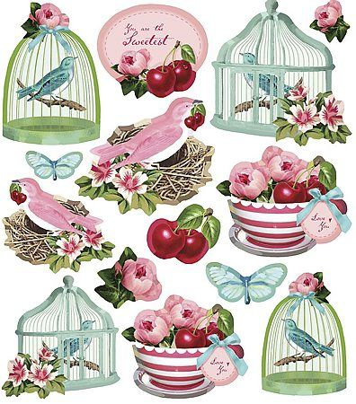 Cute Tilda stickers ~ cherries, birds and birdcages