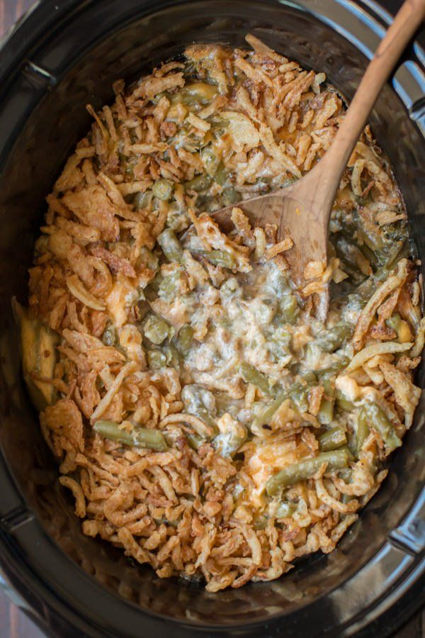 Slow Cooker Cheesy Green Bean Casserole is a great addition to any holiday meal.