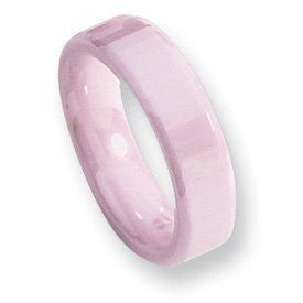Ceramic Pink Faceted 5.5mm Polished Band CER26-9 Abacus. $80.50