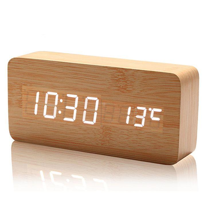 Aliexpress.com: Compre 098 de alta qualidade relógios com termômetro, Relógios de mesa, Grandes números de relógio digital, Led de madeira relógios de madeira de confiança relógio foto fornecedores em Shenzhen Xuou Beauty Co., Ltd.