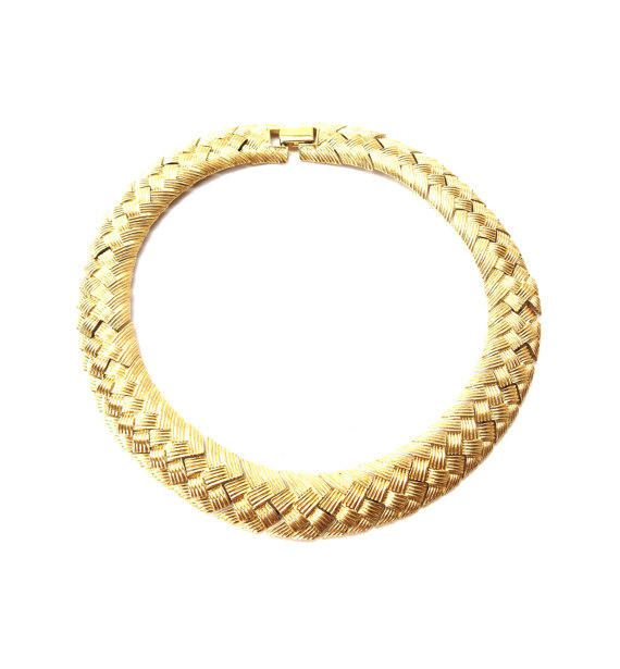 1960's NAPIER Gold Tone Choker Necklace ~ Vintage Basket Weave Link Choker ~ Wide Link Collar Necklace ~ Showy Chunky Jewellery by CatsAndHatsVintage on Etsy