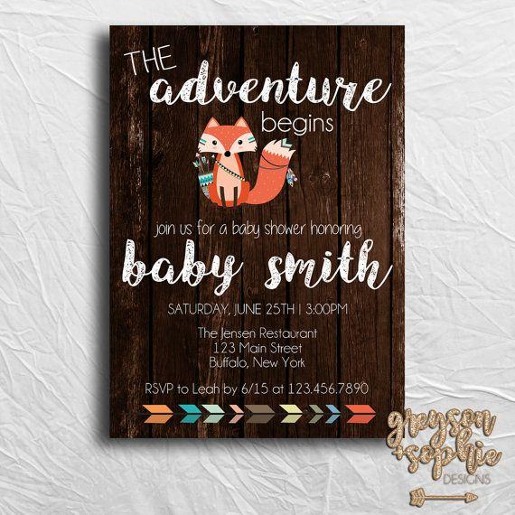 Woodland/Fox Themed Baby Shower Invitation   https://www.etsy.com/listing/448720822/woodland-tribal-themed-baby-shower