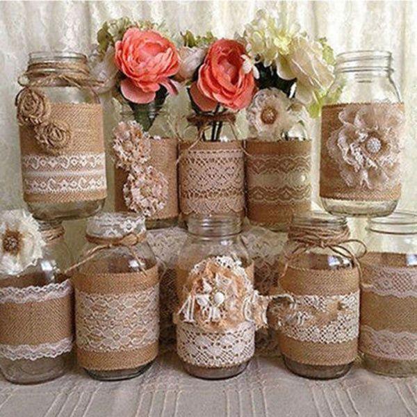 1roll Vintage Lace Edged Hessian Fabric Burlap Ribbon Rustic Wedding Party Decor Wish Mason Jar Vases Wedding Wedding Vases Mason Jar Vases