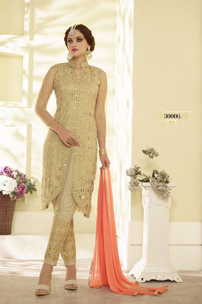 Mark your presence in parties and functions with this sizzling beige color designer salwar kameez. This semi-stitched salwar suit is made from georgette fabric