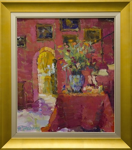 La Chambre Rouge    Artist Alice Williams   Subject Interior   Medium Oil on Canvas   Category Painting   Circa 2013   Dimensions H 22in x W 18in