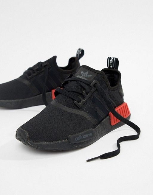 81d2ec38b adidas Originals Nmd R1 Sneakers In Black With Red Heel Block ...