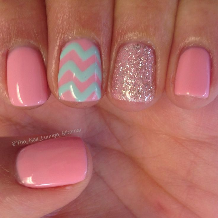 Mint pink girly chevron nail art design