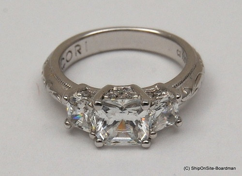 diamonique tacori epiphany princess 3 stone engagement anniversary ring size 4 need a size 6 - Diamonique Wedding Rings