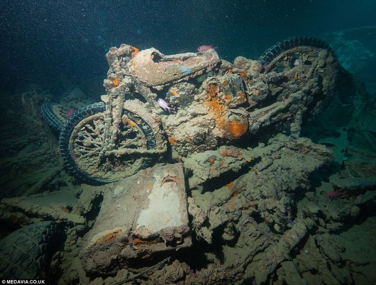 Motorbikes inside the hold of the SS Thistlegorm, a British Merchant Navy ship that sank a...