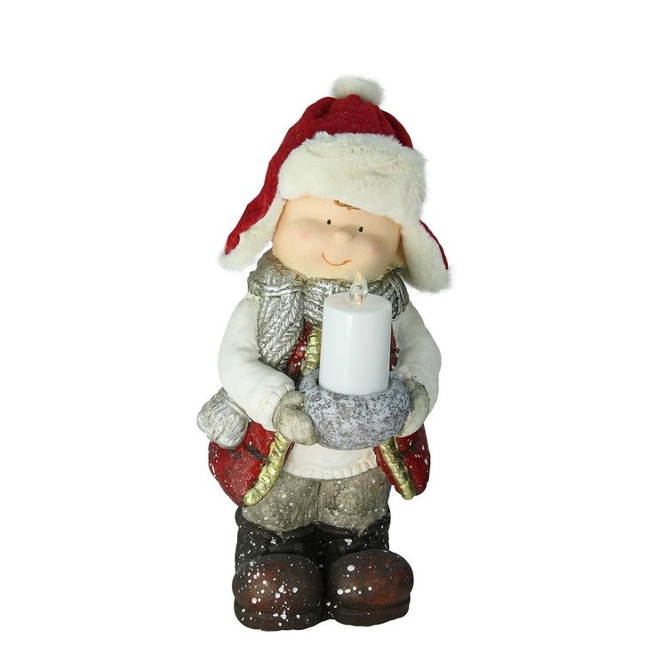 "17"" Standing Young Boy in Winter Ski Hat Holding Candle Christmas Figure"