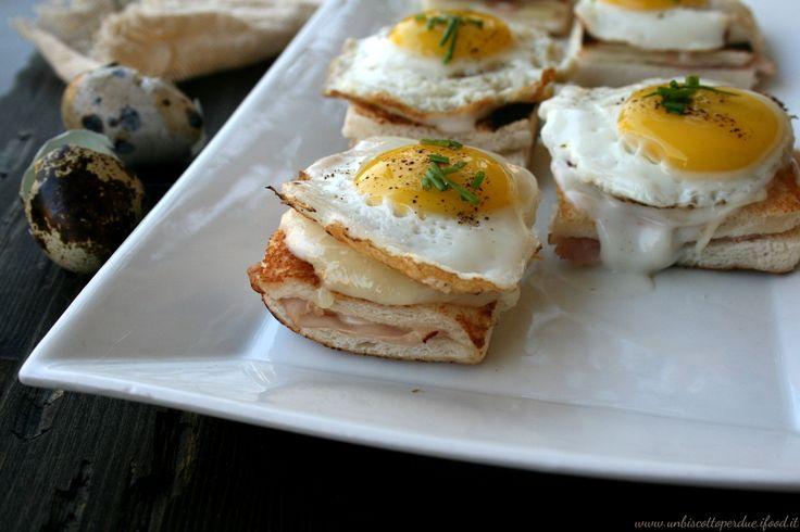 Croque madame con uova di quaglia
