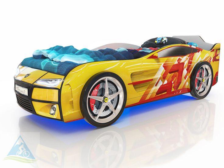 Кровать-машина Romack Kiddy желтая - линии