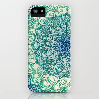 Mandalas Emerald Doodle iPhone & iPod Case by Micklyn - $35.00