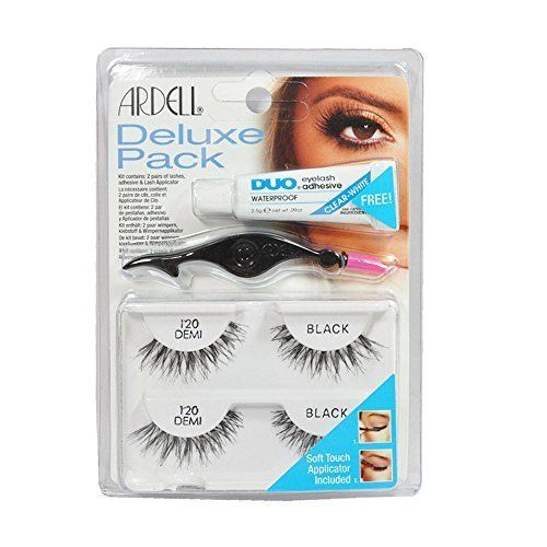 Ardell Eye Lash 120 Black Deluxe Pack, Adhesive & Lash Applicator in Pack. 100% brand new and authentic Ardell Eyelashes. Ardell Eye Lash 120 Black Deluxe Pack. 1 Kit Contains. - 2 Paires 120 Demi Black of lashes. - Adhesive & Lash Applicator.
