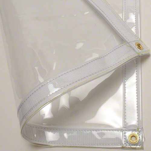 8' x 12' Clear Tarp 20 MIL Vinyl. Vinyl clear tarps are strong, waterproof, UV resistant. 20 MIL Clear Vinyl Tarps have excellent cold crack performance. Ideal for outdoor and patio enclosures. Custom clear vinyl tarps available. Low Prices.