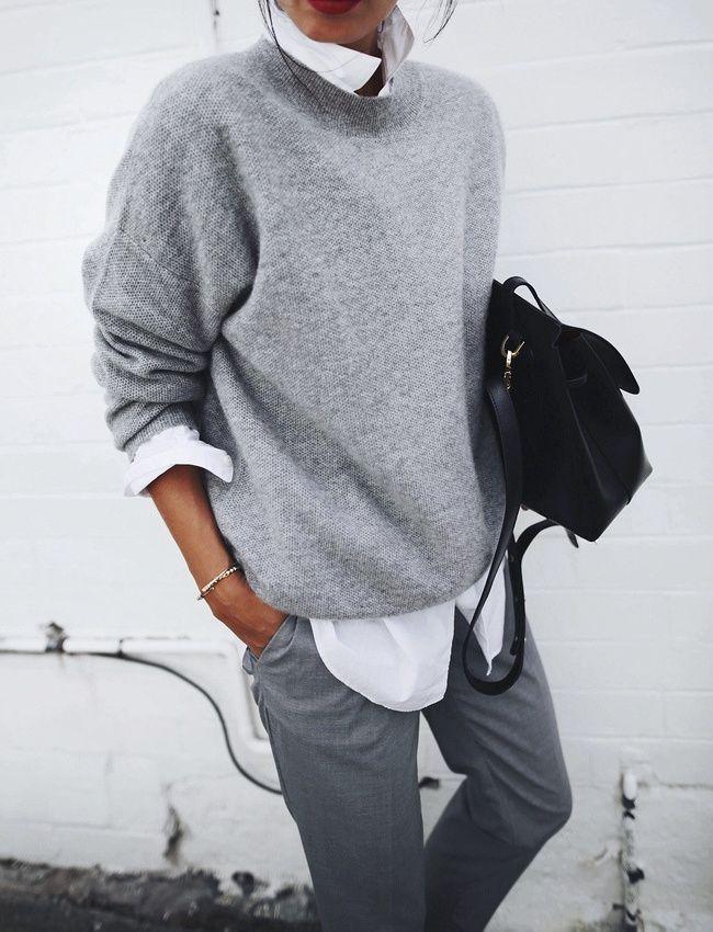 Portée en mode décontracté, la chemise blanche apparaît idéale pour dérider un camaïeu de gris (photo Andy Csinger)