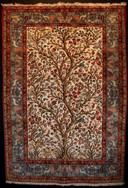 ANTIQUE PERSIAN QUM - TREE OF LIFE RUG, CIRCA 1920 - Knights Antiques