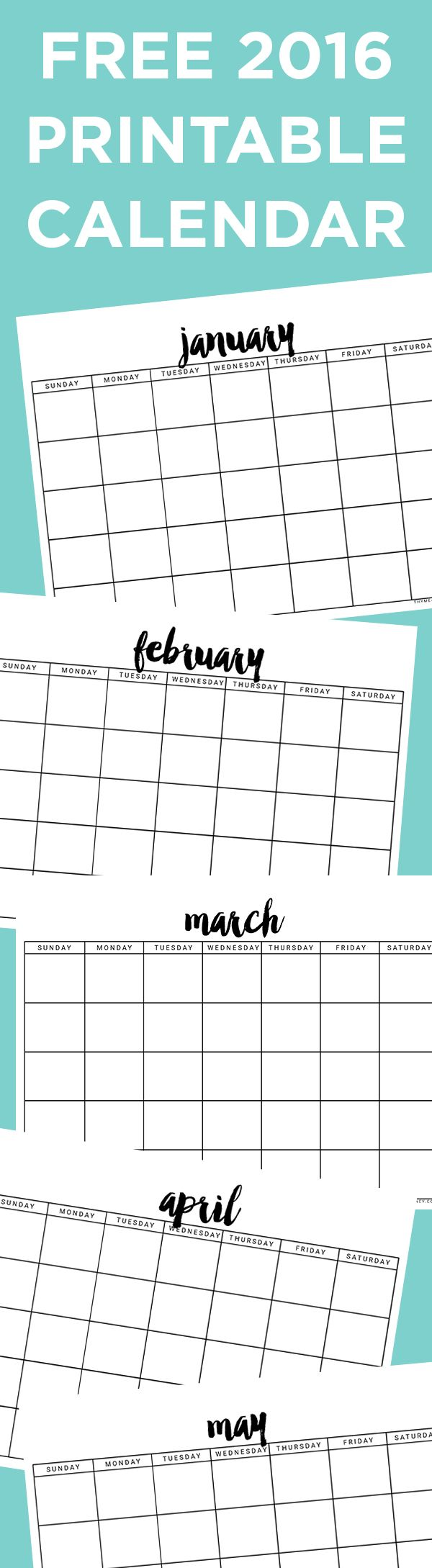 Free Printable 2016 Calendar | Thyme is Honey