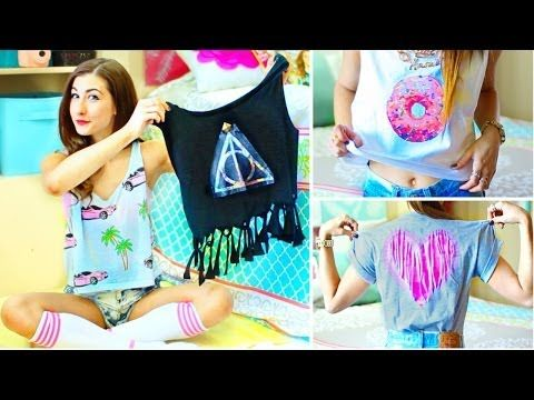 DIY T-Shirt Ideas Inspired By Tumblr | Easy & Cute Shirts For Summer! - YouTube
