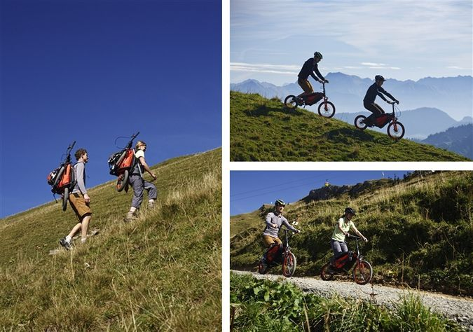 Mountain Monk - Uphill as Backpack, Downhill as Mountain Bike - Real Usage Pics http://coolpile.com/rides-magazine/the-mountain-monk-the-folding-mountain-bike-designed-to-be-carried-as-a-regular-backpack/ via CoolPile.com - $1499 -  Bicycle, Camping, Gifts For Her, Gifts For Him, Hiking, Mountain Biking, Outdoors