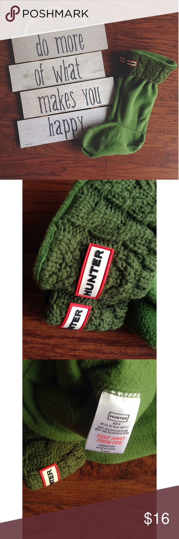Hunter Boot Liners In perfect condition, used only once. Forest green knit material. Hunter Boots Accessories Hosiery & Socks