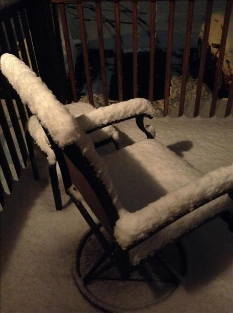 Snow on deck in LaGrange, KY 2014
