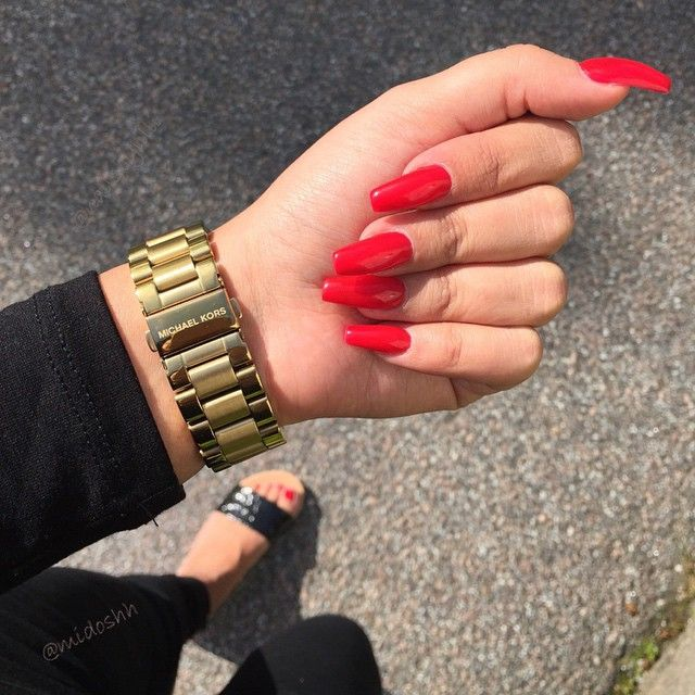 Instagram Nails In 2019 Red Acrylic Nails Red Nails Long Red Nails