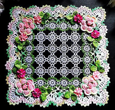"new crochet doily 9 3/8 x 9 3/8 """