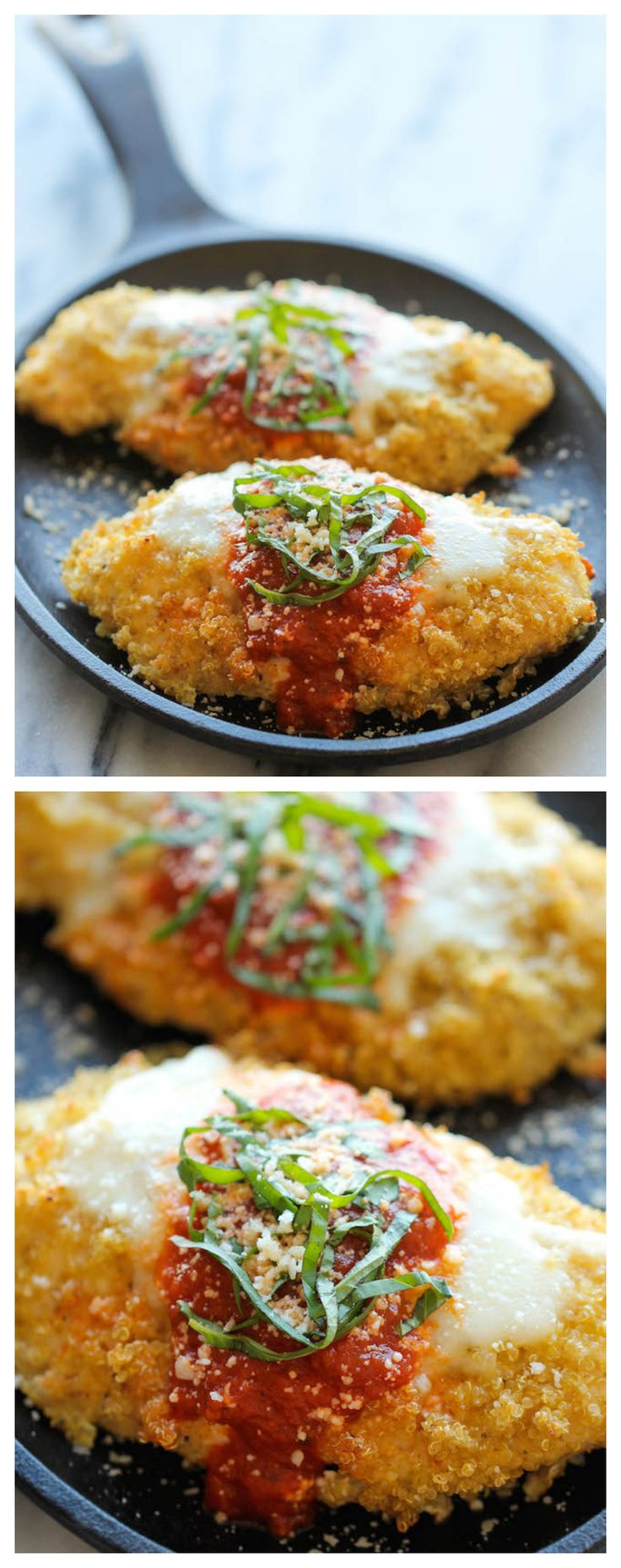 Quinoa Chicken Parmesan - With an amazingly crisp quinoa crust, you'll never guess that this is actually so healthy!