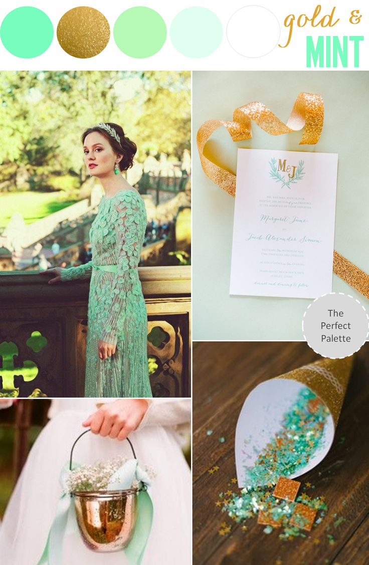 Color Story | Mint + Gold http://www.theperfectpalette.com/2013/11/color-story-mint-gold.html: Gold Weddings, Color Palettes, Color Schemes, Mint Gold, Mint Color, Color Pallets, Color Stories, Mint Weddings, Gossip Girls