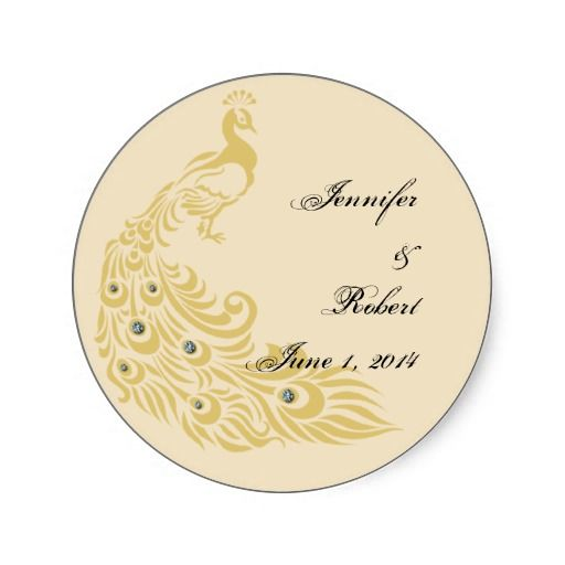 Peacock Elegance Art Deco Wedding Envelope Seal Stickers with cream gold and peacock colors Customized with your names and wedding date from http://www.zazzle.com/peacock_elegance_art_deco_wedding_envelope_seal_sticker-217570590373210090?rf=238505586582342524