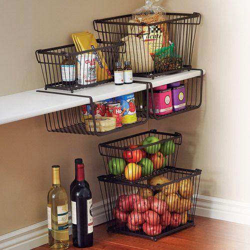 Kitchen Pantry Storage Shelving Ideas Baskets Organization: York Stackable Pantry Storage Basket Thestylecure.com
