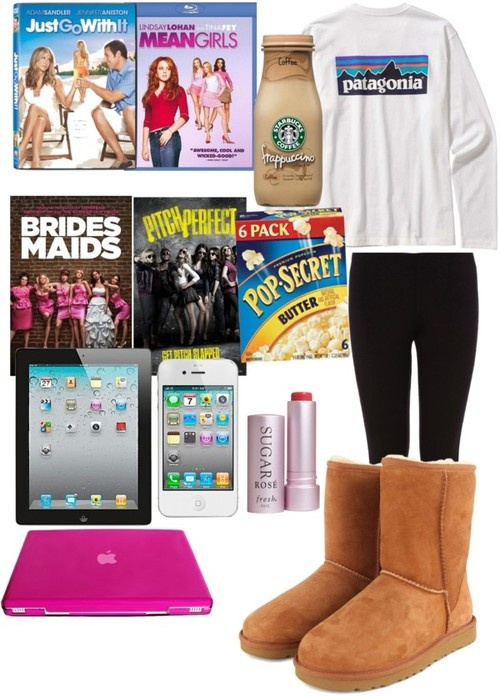 Movie day by cseelhorst featuring a fresh lip treatment ❤ liked on PolyvoreOasis stretch pants, $21 / UGG Australia ugg® australia shoes, $250 / Mens Long-Sleeved Patagonia P-label T-shirt / Fresh  lip treatment / Starbucks Coffee Frappuccino Coffee Drink 13.7 oz. Bottle / Mean Girls (Blu-ray) / popcorn at Target