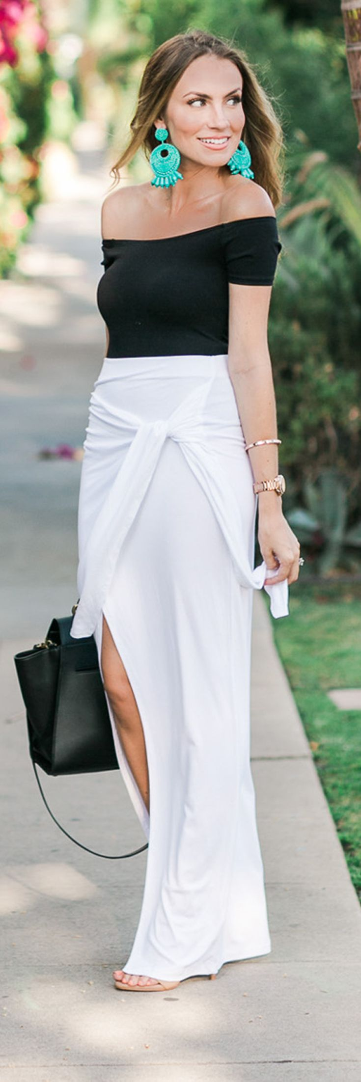 Classic staples for date night outfit. Off the shoulder body suite, knotted white maxi skirt, strappy nude sandals and gold link braelent. Angela Lanter Fashion Style - Hello Gorgeous.