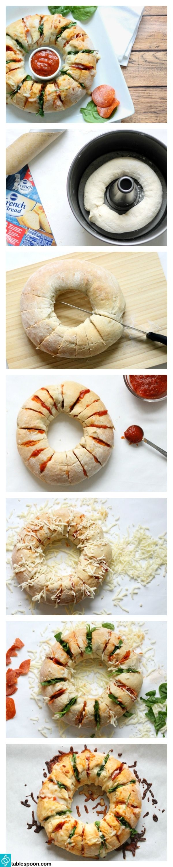 This fun circle of crusty stuffed bread presents traditional pizza flavors in a totally untraditional way.