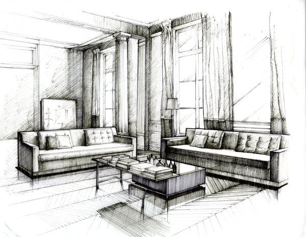 pen and ink drawing 2 practice by wenyu zhou - Interior Design Sketches