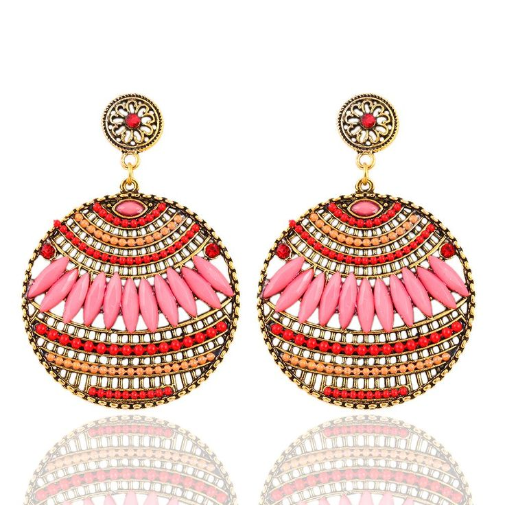 Aliexpress.com : Buy Hollow Design 1 Pair Vintage Bohemia Drop Style Earring Resin Heart Beaded Earrings Dangle Earrings des boucles d'oreilles from Reliable earrings dangle suppliers on Mloveacc Official Store